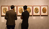 """Pictured: Oceanus woodcut, c. 1589-90 by Hendrick Goltzius (1558-1617). Series of Gods and Goddesses. Press preview of the exhibition """"Renaissance Impressions: Chiaroscuro Woodcuts from the Collections of Georg Baselitz and the Albertina, Vienna"""", opens at the Royal Academy of Art on 15 March 2014. The exhibition at the Sackler Wing of Galleries runs from 15 March to 8 June 2014 and presents over 150 rare prints by the chief practitioners of the Chiaroscuro woodcutting technique in Germany, Italy and the Netherlands held at the Albertina Museum in Vienna and in the personal collection of the Honorary Royal Academian Georg Baselitz."""