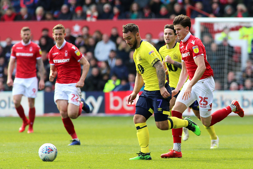 Blackburn Rovers' Adam Armstrong gets away from Nottingham Forest's Sam Byram<br /> <br /> Photographer David Shipman/CameraSport<br /> <br /> The EFL Sky Bet Championship - Nottingham Forest v Blackburn Rovers - Saturday 13th April 2019 - The City Ground - Nottingham<br /> <br /> World Copyright © 2019 CameraSport. All rights reserved. 43 Linden Ave. Countesthorpe. Leicester. England. LE8 5PG - Tel: +44 (0) 116 277 4147 - admin@camerasport.com - www.camerasport.com