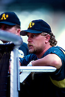 Matt Stairs of the Oakland Athletics plays in a baseball game at Edison International Field during the 1998 season in Anaheim, California. (Larry Goren/Four Seam Images)