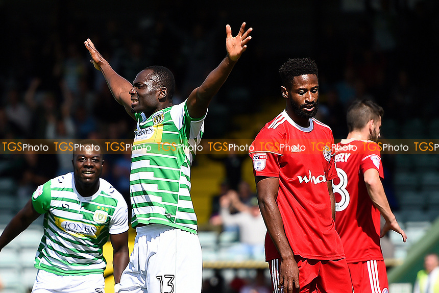Francois Zoko of Yeovil Town celebrates his goal as the Accrington Stanley defence look dejected during Yeovil Town vs Accrington Stanley, Sky Bet EFL League 2 Football at Huish Park on 12th August 2017