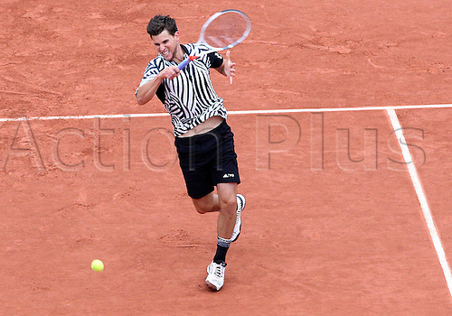 02.06.2016. Roland Garros, Paris, France, French Open tennis championships, day 12. Dominic Thiem (AUT) returns during his 4 set win in the quarterfinals against David Goffin (BEL)
