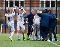 Jimmy Nealis (16) of Georgetown celebrates a goal with teammate Ian Christanson (6)  during the game at North Kehoe Field in Washington DC. Georgetown defeated St. John's, 2-1, in the Big East conference tournament quarterfinals.