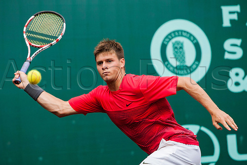 13.04.2012. Houston Texas.  Ryan Harrison competes against Michael Russell during a quarterfinal match of the US Men's Clay Court Championship at the River Oaks Country Club in Houston, TX.  Russell defeated Harrison 6-5-6.