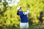 Inbee Park watches her ball on the 16th fairway at the LPGA Championship 2014 Sponsored By Wegmans at Monroe Golf Club in Pittsford, New York on August 17, 2014