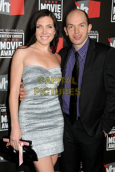GUEST & PAUL SCHEER .at The16th Annual Critics' Choice Movie Awards held at The Hollywood Palladium in Hollywood, California, USA, January 14th, 2011..half length strapless silver dress black suit tie blue checked shirt .CAP/ADM/BP.©Byron Purvis/AdMedia/Capital Pictures.