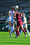 19 September 2010: University of Vermont Catamount midfielder Midori Eckenstein, a Sophomore from South Burlington, VT, heads up against Colgate University Raider Kelsey Hough, a Freshman from Lake Forest, IL, at Centennial Field in Burlington, Vermont. The Raiders scored a pair of second half goals two minutes apart to notch a 2-0 victory over the Lady Cats in non-conference women's soccer play. Mandatory Credit: Ed Wolfstein Photo