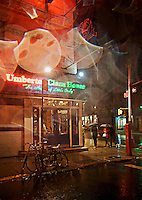 Italian restaurant at night, Mulberry Street, Little Italy, SoHo, NYC, USA