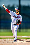 21 February 2019: Washington Nationals pitcher Anibal Sanchez works on the mound during a Spring Training workout at the Ballpark of the Palm Beaches in West Palm Beach, Florida. Mandatory Credit: Ed Wolfstein Photo *** RAW (NEF) Image File Available ***