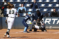 GREENSBORO, NC - FEBRUARY 22: Sydney Bates #23 of Purdue University pitches to Destiny Middleton #47 of the University of North Carolina during a game between North Carolina and Purdue at UNCG Softball Stadium on February 22, 2020 in Greensboro, North Carolina.
