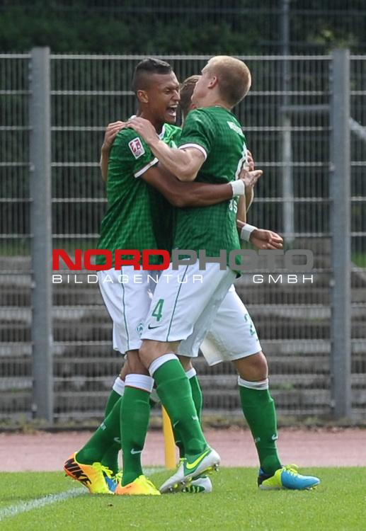 18.08.2013, Platz 11, Bremen, GER, RLN, Werder Bremen II vs SV Eichede, im Bild Jubel bei Werder<br /> <br /> Foto &copy; nph / Frisch