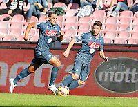 Faouzi Ghoulan  and  Dries Mertens    in action during the Italian Serie A soccer match between   SSC Napoli and Empolii    at San Paolo   stadium in Naples , December 07, 2014