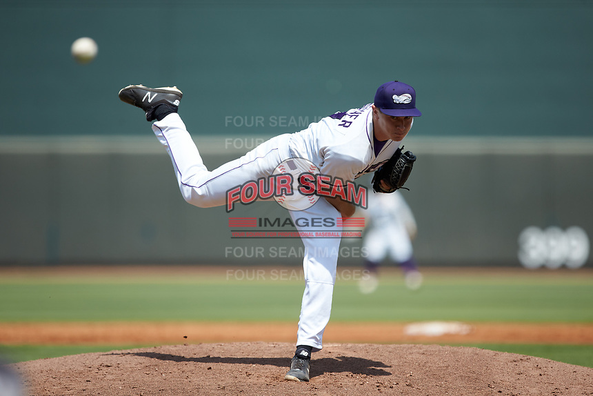 Winston-Salem Dash starting pitcher Jonathan Stiever (17) delivers a pitch to the plate against the Carolina Mudcats at BB&T Ballpark on August 4, 2019 in Winston-Salem, North Carolina. The Dash defeated the Mudcats 7-5. (Brian Westerholt/Four Seam Images)
