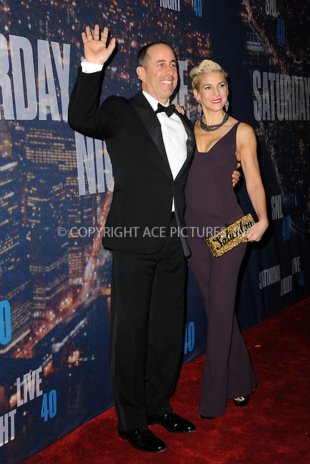 WWW.ACEPIXS.COM<br /> February 15, 2015 New York City<br /> <br /> Jerry Seinfeld and Jessica Seinfeld walking the red carpet at the SNL 40th Anniversary Special at 30 Rockefeller Plaza on February 15, 2015 in New York City.<br /> <br /> Please byline: Kristin Callahan/AcePictures<br /> <br /> ACEPIXS.COM<br /> <br /> Tel: (646) 769 0430<br /> e-mail: info@acepixs.com<br /> web: http://www.acepixs.com