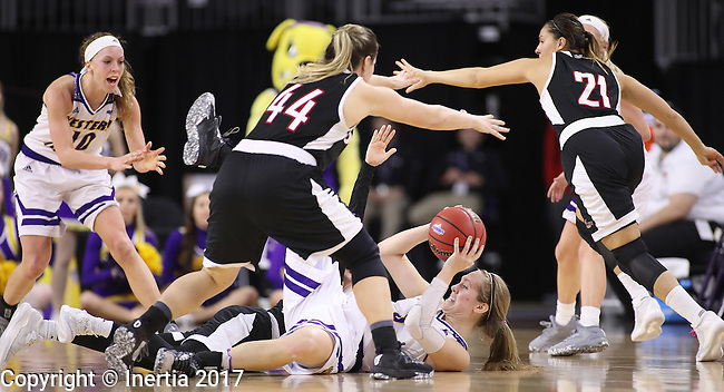 SIOUX FALLS, SD: MARCH 6: 	Olivia Braun #3 of Western Illinois tries to pass from the floor against Omaha during the Summit League Basketball Championship on March 6, 2017 at the Denny Sanford Premier Center in Sioux Falls, SD. (Photo by Dick Carlson/Inertia)