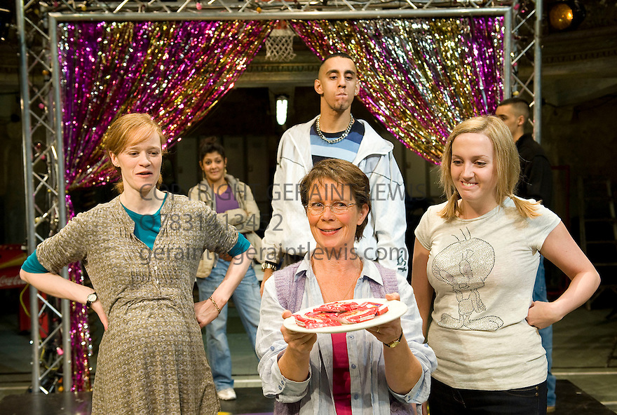 Mixed Up North by Robin Soans,directed by Max Stafford-Clarke.With Kathryn OReilly as Bella,Celia Imrie as Trish,Muzz Khan as Uday,Lorna Stuart as Tamsin. Opens at Wilton's Music Hall on 12/11/09.  Credit Geraint Lewis