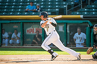 Josh Rutledge (8) of the Salt Lake Bees at bat against the Albuquerque Isotopes in Pacific Coast League action at Smith's Ballpark on June 8, 2015 in Salt Lake City, Utah.  (Stephen Smith/Four Seam Images)