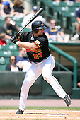 May 13, 2009:  First Baseman Justin Huber of the Rochester Red Wings, International League Class-AAA affiliate of the Minnesota Twins, at bat during a game at Frontier Field in Rochester, FL.  Photo by:  Mike Janes/Four Seam Images
