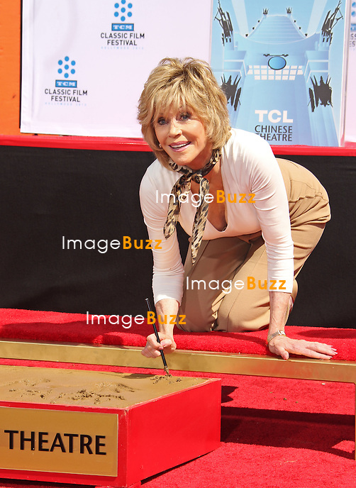 JANE FONDA HAND & FOOT PRINT CEREMONY -Jane Fonda, The 2013 TCM Classic Film Festival honors Jane Fonda with her Hand print and Foot print ceremony at the TCL Chinese Theatre in Hollywood..Jim Carrey, Eva Longoria, Maria Shriver, Troy Garity ( Jane's son ) were attending the ceremony..Los Angeles, April 27, 2013.
