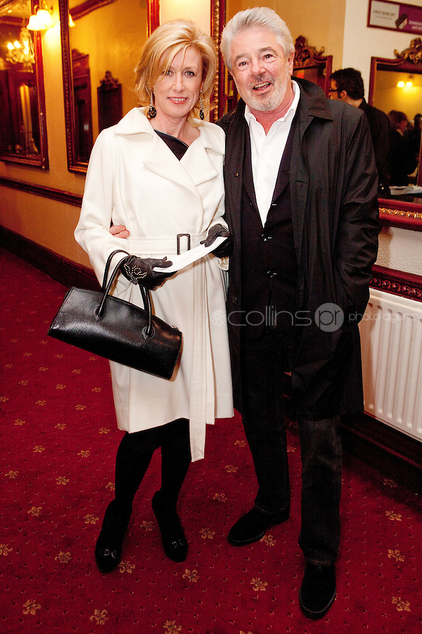 "NO REPRO FEE. 17/1/2010. The Field opening night. Moya Doherty and John Mccolgan are pictured at the Olympia Theatre for the opening night of John B Keanes 'The Field"" Picture James Horan/Collins"