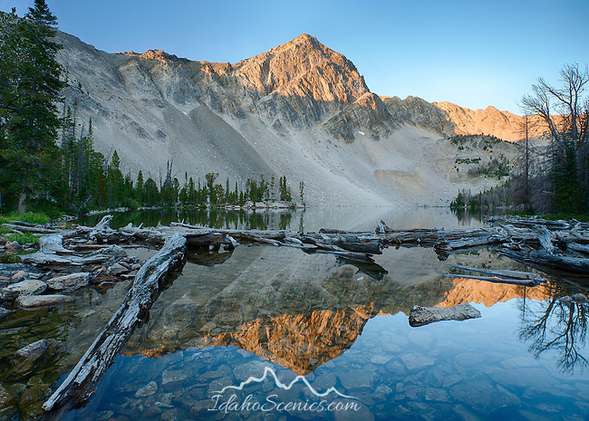 Idaho, Eastern, Lemhi County, Leadore. 10748 foot Gilmore Peak reflected in the waters of Meadow lake at dawn in summer.