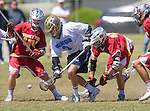 Corona Del Mar, CA 04/02/16 - Noah Rubin (Torrey Pines #44), Spencer Grant (Torrey Pines #40) and Jason Simaan (Corona Del Mar #9) in action during the non-conference game between the Nike/LM High School Boys' National Western Region #4 Torrey Pines (#4) and #5 Corona Del Mar.  Torrey Pines defeated Corona Del Mar 9-8 in overtime.