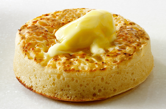 Buttered crumpets food photos