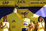 Race leader Julian Alaphilippe (FRA) Deceuninck-Quick Step retains the Yellow Jersey at the end of Stage 17 of the 2019 Tour de France running 200km from Pont du Gard to Gap, France. 24th July 2019.<br /> Picture: ASO/Alex Broadway | Cyclefile<br /> All photos usage must carry mandatory copyright credit (© Cyclefile | ASO/Alex Broadway)