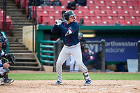 Cedar Rapids Kernels third baseman Andrew Bechtold (4) during a Midwest League game against the Kane County Cougars at Northwestern Medicine Field on April 28, 2019 in Geneva, Illinois. Kane County defeated Cedar Rapids 3-2 in game one of a doubleheader. (Zachary Lucy/Four Seam Images)