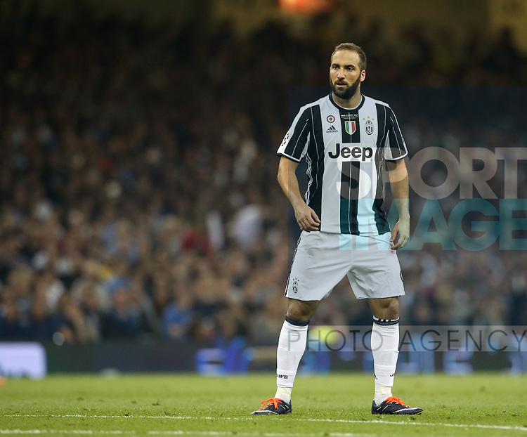 Juventus' Gonzalo Higuain in action the Champions League Final match at the Principality Stadium, Cardiff. Picture date: June 3rd, 2017. Pic credit should read: David Klein/Sportimage