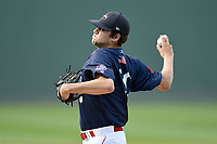 Starting pitcher Hunter Haworth (20) of the Greenville Drive delivers a pitch in a game against the Augusta GreenJackets on Wednesday, April 25, 2018, at Fluor Field at the West End in Greenville, South Carolina. Augusta won, 9-2. (Tom Priddy/Four Seam Images)