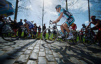 De Ronde van Vlaanderen 2012..Tom Boonen smoothly over the cobbles