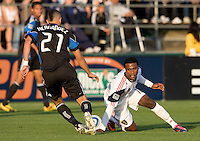 Jason Hernandez of Earthquakes fights for the ball against Robbie Findley of Real Salt Lake during the game at Buck Shaw Stadium in Santa Clara, California on March 27th, 2010.   Real Salt Lake defeated San Jose Earthquakes, 3-0.