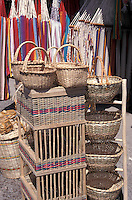 Straw goods for sale at the Sunday market in El Valle de Anton, Panama