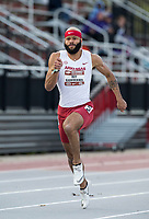 NWA Democrat-Gazette/BEN GOFF @NWABENGOFF<br /> Roy Ejiakuekwu of Arkansas runs the men's 100 meter dash Friday, April 12, 2019, at the John McDonnell Invitational at John McDonnell field in Fayetteville. Ejiakuekwu placed second in the event with a time of 10.43 seconds.
