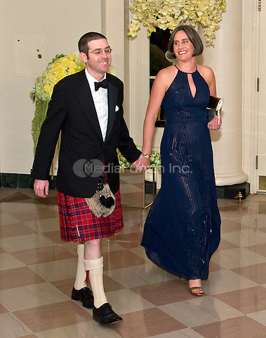 Alexander Macgillivray, Deputy Chief Technology Officer, The White House, and Shona Crabtree arrives for the State Dinner in honor of Prime Minister Trudeau and Mrs. Sophie Gr&Egrave;goire Trudeau of Canada at the White House in Washington, DC on Thursday, March 10, 2016.<br /> Credit: Ron Sachs / Pool via CNP/MediaPunch