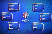 I gruppi <br /> Parigi 12-12-2015 Sorteggio fase finale Euro 2016 campionato Europeo di Calcio per Nazioni Francia 2016 <br /> Foto Anthony BIBARD / Panoramic / Insidefoto