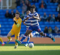 Reading's Pele (right) under pressure from Preston North End's Tom Barkhuizen (left) <br /> <br /> <br /> Photographer David Horton/CameraSport<br /> <br /> The EFL Sky Bet Championship - Reading v Preston North End - Saturday 19th October 2019 - Madejski Stadium - Reading<br /> <br /> World Copyright © 2019 CameraSport. All rights reserved. 43 Linden Ave. Countesthorpe. Leicester. England. LE8 5PG - Tel: +44 (0) 116 277 4147 - admin@camerasport.com - www.camerasport.com