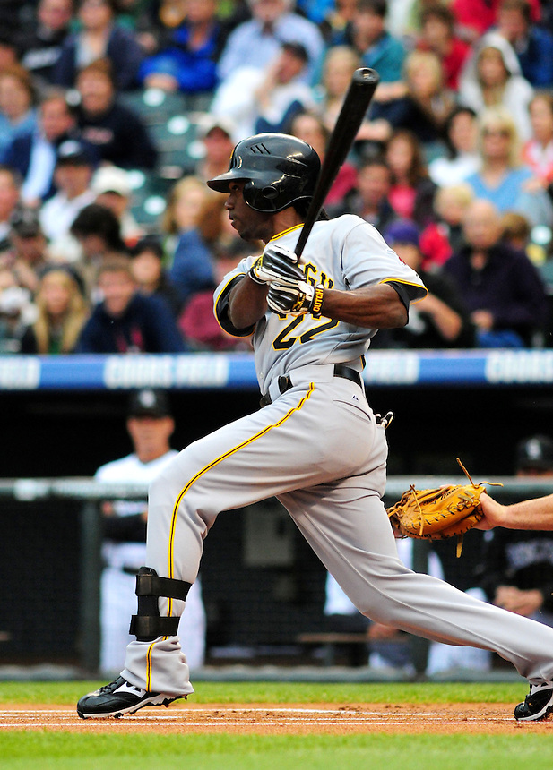 June 20, 2009: Pirates outfielder and 2009 National League Rookie of the Year candidate Andrew McCutchen during a game between the Pittsburgh Pirates and the Colorado Rockies at Coors Field in Denver, Colorado.