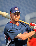 20 June 2008: Washington Nationals' outfielder Ryan Langerhans warms up prior to the first game of their series against the Texas Rangers at Nationals Park in Washington, DC. The Nationals rallied in the eighth to tie, and then win 4-3 in the 14th inning of their inter-league matchup...Mandatory Photo Credit: Ed Wolfstein Photo
