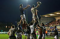 Adam Preocanin of Ealing Trailfinders wins the line out during the Greene King IPA Championship match between London Scottish Football Club and Ealing Trailfinders at Richmond Athletic Ground, Richmond, United Kingdom on 26 December 2015. Photo by Alan  Stanford / PRiME Media Images