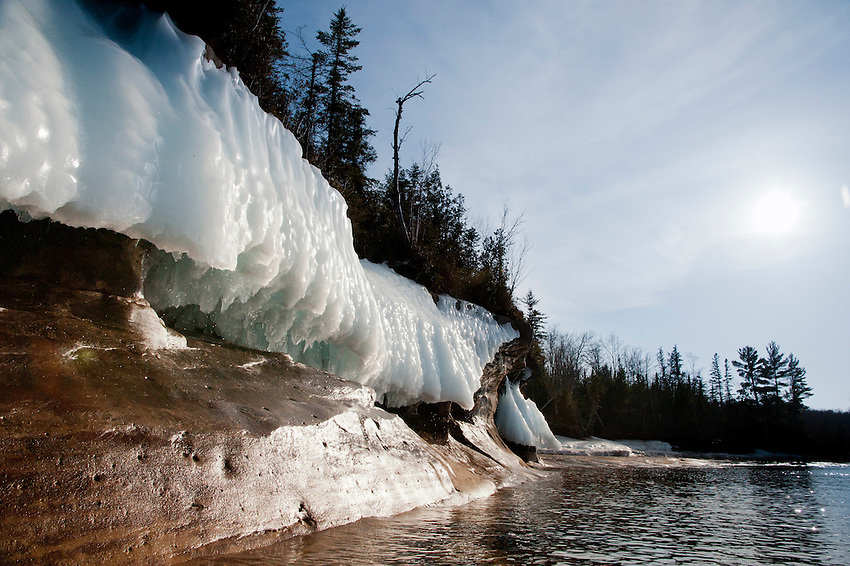 Lake Superior icy shoreline in spring on Michigan's Upper Peninsula.