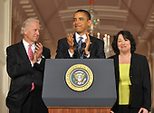 Washington, D.C. - May 26, 2009 -- United States Vice President Joseph Biden, left, and U.S. President Barack Obama, center, announces his nomination of Judge Sonia Sotomayor, right, of the Federal Appeals Court for Justice of the U.S. Supreme Court in the East Room of the White House on Tuesday, May 26, 2009.  She will replace retiring Justice David Souter. Judge Sotomayor, 54, of The Bronx, New York, will be the first Hispanic to serve if her nomination is approved by the U.S. Senate. .Credit: Ron Sachs / Pool via CNP
