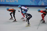 OLYMPICS: SOCHI: Iceberg Skating Palace, 10-02-2014, Shorttrack, 1500m Men, B-finale, Sjinkie Knegt (#248 | NED), Sebastian Lepape (# 216 | FRA), Se Young Park (#242 | KOR), ©foto Martin de Jong