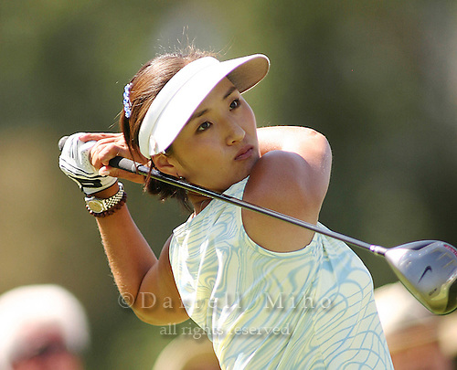 March 28, 2004; Rancho Mirage, CA, USA;  Grace Park tees off during the final round of the LPGA Kraft Nabisco golf tournament held at Mission Hills Country Club.  Park won her first major tournament by one stroke over Aree Song with an overall score of 11 under par 277.  She finished the day with a 3 under par 69.<br />