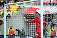 Phoenix keeper Keegan Smith during the A-League football match between Wellington Phoenix and Adelaide United FC at Westpac Stadium in Wellington, New Zealand on Sunday, 8 October 2017. Photo: Dave Lintott / lintottphoto.co.nz