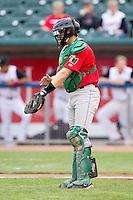 Fort Wayne TinCaps catcher Dane Phillips (9) gives the defense signs during the Midwest League game against the Lansing Lugnuts at Cooley Law School Stadium on June 5, 2013 in Lansing, Michigan.  The TinCaps defeated the Lugnuts 8-5.  (Brian Westerholt/Four Seam Images)
