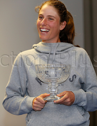 24.06.2016 Eastbourne, England. Aegon International Eastbourne tennis tournament. Johanna Konta (GBR) was presented a Devonshire Park Lawn Tennis Club lifetime membership trophy by Ken Pollock