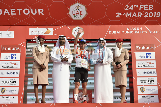 Caleb Ewan (AUS) Lotto-Soudal wins Stage 4 of the 2019 UAE Tour, running 197km form The Pointe Palm Jumeirah to Hatta Dam, Dubai, United Arab Emirates. 26th February 2019.<br /> Picture: LaPresse/Fabio Ferrari | Cyclefile<br /> <br /> <br /> All photos usage must carry mandatory copyright credit (© Cyclefile | LaPresse/Fabio Ferrari)
