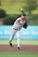 Greenville Drive starting pitcher Hildemaro Requena (20) in action against the Kannapolis Intimidators at Kannapolis Intimidators Stadium on August 9, 2017 in Kannapolis, North Carolina.  The Drive defeated the Intimidators 6-1.  (Brian Westerholt/Four Seam Images)