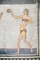 Roman mosaic of a young women exercising with a ball from  the Room of the Ten Bikini Girls, room no 30, from the Ambulatory of The Great Hunt, room no 28,  at the Villa Romana del Casale which containis the richest, largest and most complex collection of Roman mosaics in the world. Constructed in the first quarter of the 4th century AD. Sicily, Italy. A UNESCO World Heritage Site.